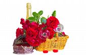 Festive Composition With Roses On A White Background