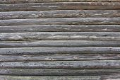 pic of wood pieces  - piece of a wall in a old house made of logs - JPG