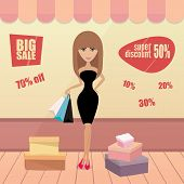Girl or woman on shopping sale hold bags. Retro style