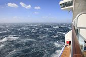 Rough seas and blue sky