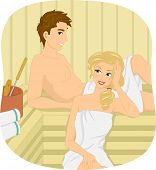 Illustration of a Couple Relaxing at a Sauna Bath