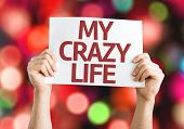 My Crazy Life card with colorful background with defocused lights
