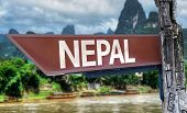 Nepal wooden sign with exotic background