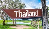 Thailand wooden sign with rural background