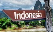 Indonesia wooden sign with exotic background