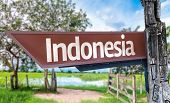 Indonesia wooden sign with rural background
