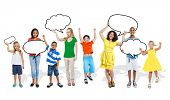 Multiethnic Group of People with Speech Bubbles