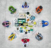 Diversity Casual People Responsive Design Computer Connection Concept
