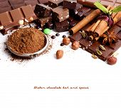 Chocolate bar and spices, isolated on white