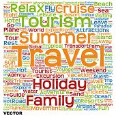 Vector concept or conceptual abstract summer travel or tourism word cloud or wordcloud isolated on white background