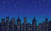 city at night under the stars