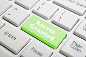 Green access granted key on keyboard