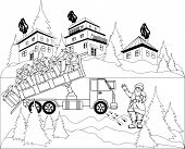 Illustration of Santa Claus unloads truck with gifts