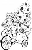 Santa Claus rides a bicycle to delivery the gifts.