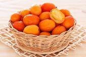 Fruit Jocote (red, Purple Mombin, Hog Plum, Ciruela Huesito, Sineguela, Siriguela) In Wicker Basket