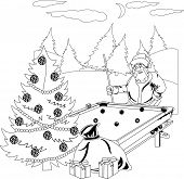 Santa Claus playing billiards in the winter forest