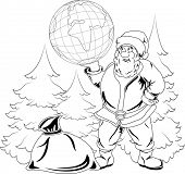 Illustration of smiling Santa Claus holding a globe