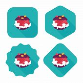 Cream Puffs Flat Icon With Long Shadow