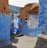 Winding street in the Medina , Chefchaouen, Morocco