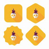 Skull Flat Icon With Long Shadow,eps10
