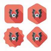 image of bat wings  - Eye With Bat Wings Flat Icon With Long Shadow - JPG