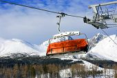 Ski-lift on winter resort in Slovakian Tatra mountains