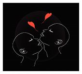Two People Blowing A Kiss With Red Heart