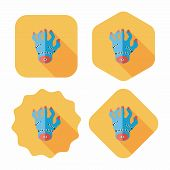 Halloween Zombie Hand Flat Icon With Long Shadow,eps10
