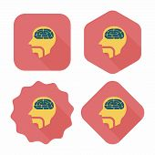 Brain Flat Icon With Long Shadow