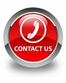 Contact us (Phone Icon) Glossy Red Round Button