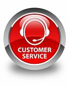 Customer Service Glossy Red Round Button