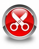 Scissors Icon Glossy Red Round Button