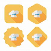 Kitchenware Chef Hat Flat Icon With Long Shadow,eps10