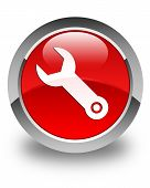 Wrench Icon Glossy Red Round Button