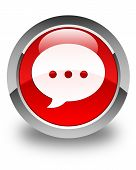 Conversation Icon Glossy Red Round Button