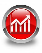 Statistics Icon Glossy Red Round Button
