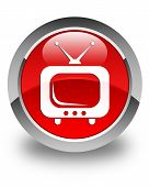 Tv Icon Glossy Red Round Button