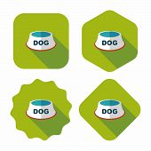 Pet Dog Bowl Flat Icon With Long Shadow,eps10