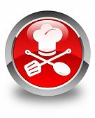 Chef Icon Glossy Red Round Button