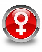 Female Sign Icon Glossy Red Round Button