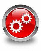 Process Gears Icon Glossy Red Round Button