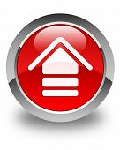 Upload Icon Glossy Red Round Button