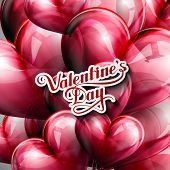 vector typographic illustration of handwritten St. Valentines Day retro label on the red flying ball