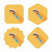 Pet Dog Brush Flat Icon With Long Shadow, eps10