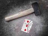 Hammer With A Broken Card, Three Of Hearts