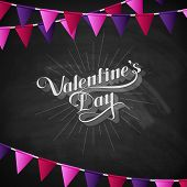 vector chalk typographic illustration of handwritten St. Valentines Day retro label on the blackboar