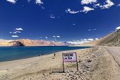Signboard At Pangong Lake, Leh, Ladakh, Jammu And Kashmir,india