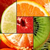 Fruits in colorful collage
