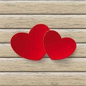 Two Red Hearts Wood