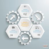 3 White Hexagons 3 Gears Cylce Arrows